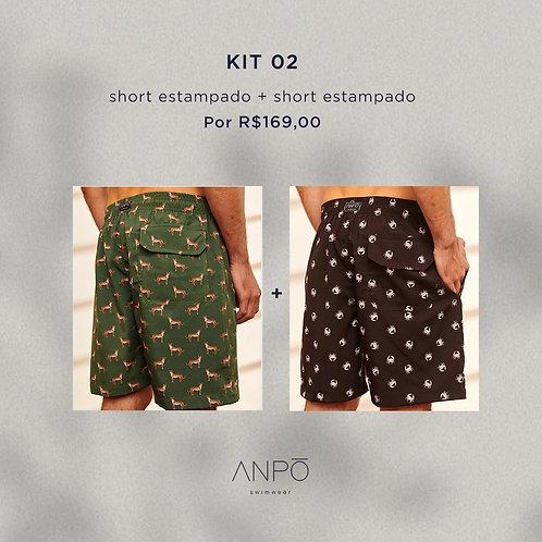 KIT 2 - 2 shorts masculinos estampados