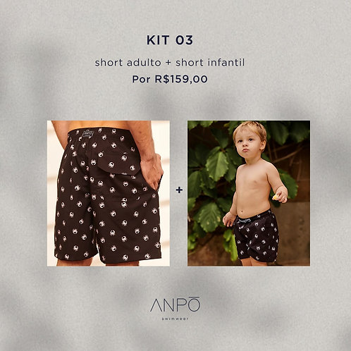 KIT 3 - Short masculino adulto + short masculino infantil
