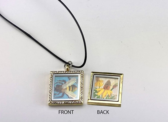 Hand made paintings in 2 sided Locket, Turquoise Bee/Coneflower