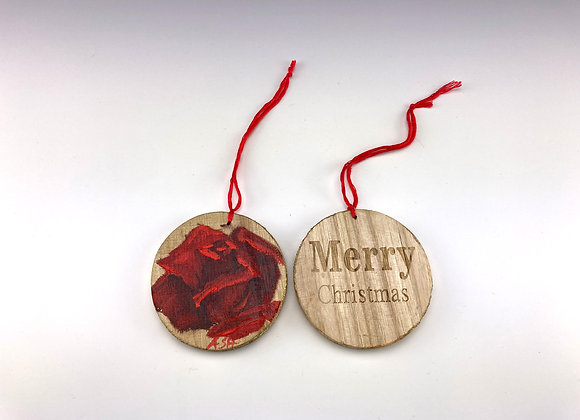 Hand-painted Christmas Rose on Wood Disk, Merry Christmas