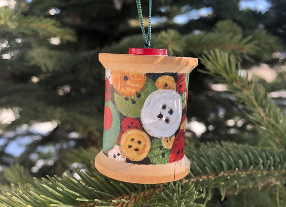 Festive button spool ornament (B)