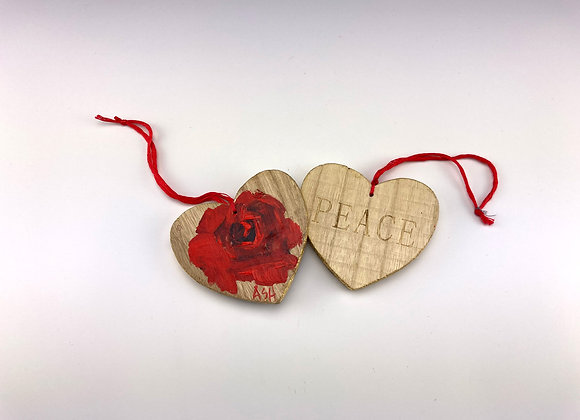 Hand-painted Christmas Rose Heart on Wood