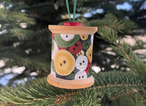 Festive button spool ornament (A)