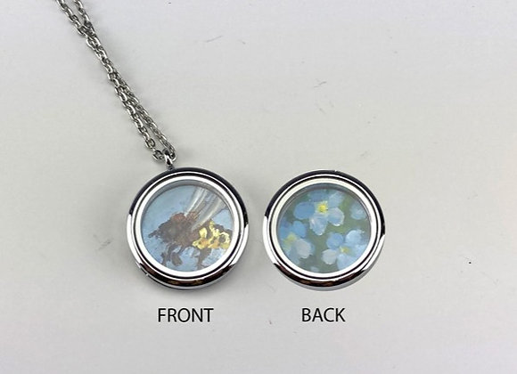 Hand made paintings in 2 sided Locket, Blue Bee/Forget Me Nots