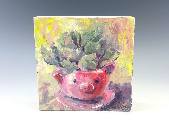 Simple Pleasures Painting, Pig Planter