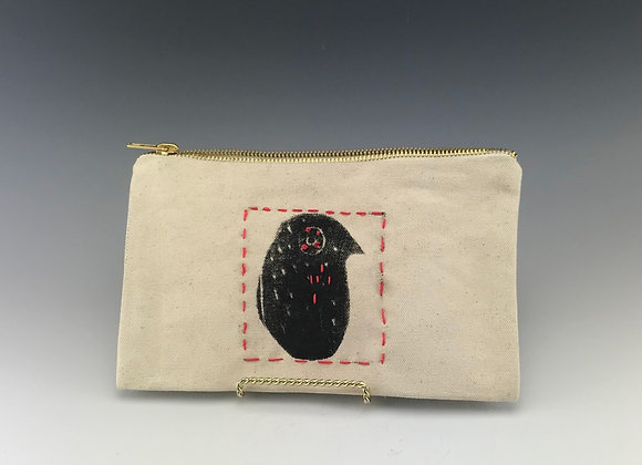 Funny Bird, block printed canvas zipper pouch