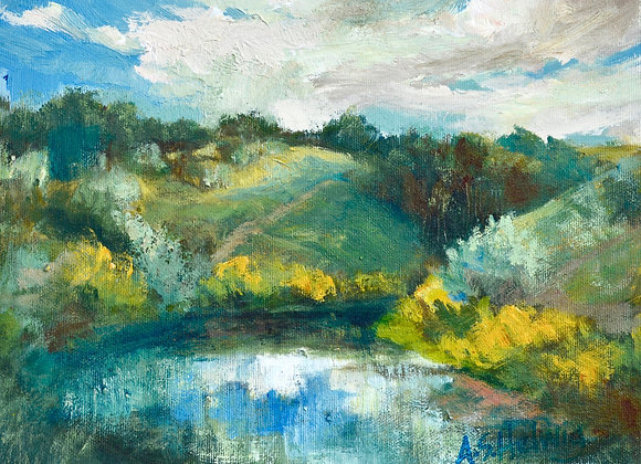 Plein Air at Nosehill Pond, painted on location at Nosehill Park, Calgary