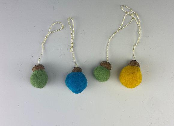 Felted Balls - Mini Ornament, Set of 4 multi colour balls