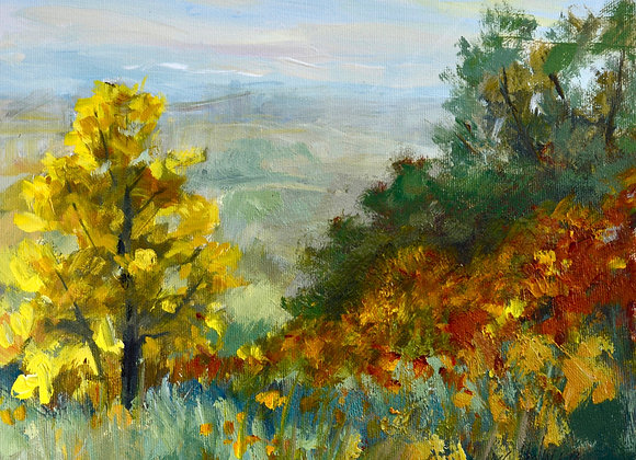 Fall Colours at Nosehill, painted on location at Nosehill Park, Calgary