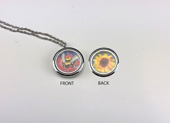 Hand made paintings in 2 sided Locket Red Bee/Sunflower