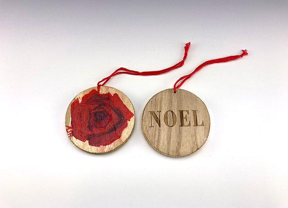 Hand-painted Christmas Rose on Wood Disk - Noel