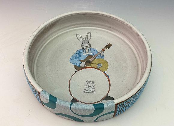 One Man Band Rabbit Baking Dish