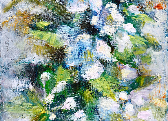 Apple Blossoms on Collaged Canvas, painted in my own backyard.