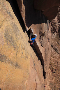"Dave Lucas on an early attempt of ""The Sheikh"" Jebel Naja. - Egypt"