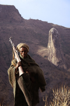 A local guard from a village that overlooks Mt Wehni. - Ethiopia.