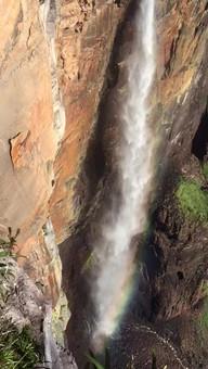 A clip 80m down the 980m abseil that follows alongside Angel falls. - Venezuela