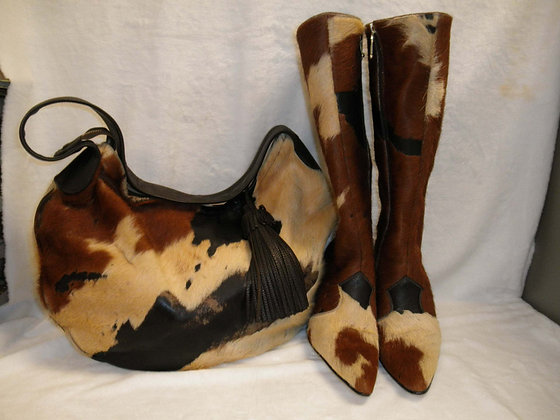TriColor Cowhide Boots/Hobo Bag