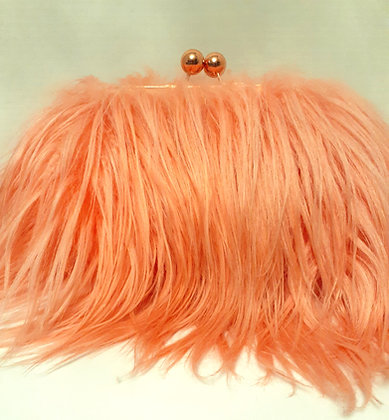 Peach Goat Hair Clutch w/Rose Gold Frame
