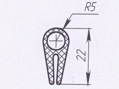 Профиль силиконовый термостойкий, тип-A, 22mm