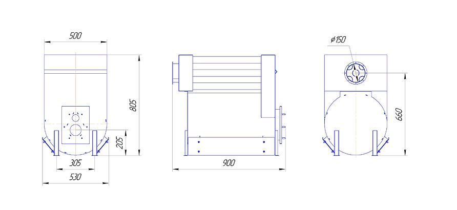 Габаритные размеры топочной камеры HiTTER TC50