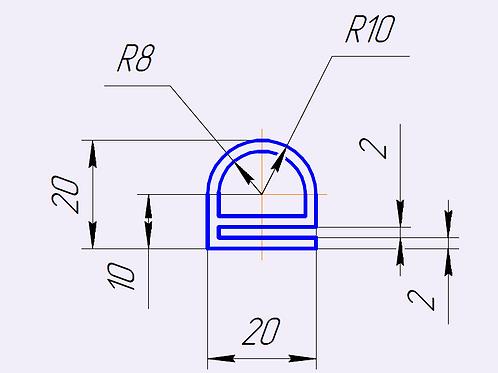 Профиль силиконовый термостойкий, тип-е, 20х20мм