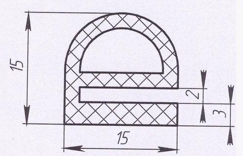 Профиль силиконовый термостойкий, тип-е, 15мм