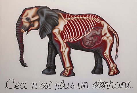 Ceci n'est plus un éléphant, Magritte, Delphyne V, art, artiste, peinture, peinture huile, paris, surréalisme, lowbrow, pop surréalisme, contemporain, moderne, gallerie, fine art, original, disponible, environment, biodiversité, conservation, protection, activiste, organique, éléphant, ivory game, ivoire