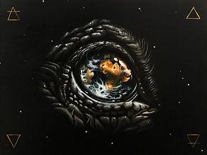 Delphyne V., art, artiste, peinture, acrylique, paris, surréalisme, lowbrow, pop surréalisme, contemporain, moderne, galerie, environement, biodiversité, préservation, protection, activiste, monde, planète, éléments, sacré, alchimie, univers, animal, dinosaur