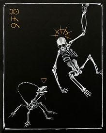Delphyne V., art, artiste, artiste française, peinture, acrylique, paris, surréalisme, lowbrow, pop surréalisme, contemporain, moderne, galerie, os, squelette, bestiaire, sacré, alchimie, pagan, sorcière, crâne, biodiversité, préservation, funny bones, squelette singe, noir, blanc, doré