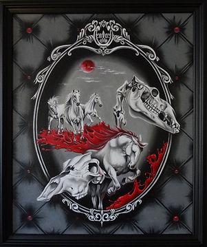 Delphyne V., art, artiste, peinture, peinture à l'huile, paris, surréalisme, lowbrow, pop surréalisme, contemporain, moderne, galerie, psychologie, sang, commande, original, cheval, chevaux, crâne, os, crâne cheval, lune rouge, lune, cadre