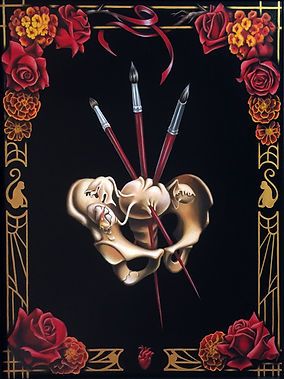 Delphyne V., art, artist, painting, oil painting, paris, surrealism, lowbrow, pop surrealism, contemporary, modern, gallery, fine art, original, available, frida kahlo, tarot, three of swords, pelvis, brushes, roses, heart, art nouveau, art deco, eggs, broken