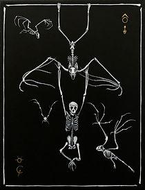 Delphyne V., art, artiste, artiste française, peinture, acrylique, paris, surréalisme, lowbrow, pop surréalisme, contemporain, moderne, galerie, os, squelette, bestiaire, sacré, alchimie, pagan, sorcière, crâne, biodiversité, préservation, funny bones, chauve-souris, noir, blanc, doré