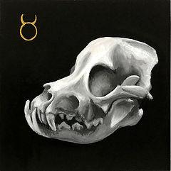 Delphyne V., art, artiste, artiste française, peinture, acrylique, paris, surréalisme, lowbrow, pop surréalisme, contemporain, moderne, galerie, os, squelette, bestiaire, sacré, alchimie, pagan, sorcière, crâne, biodiversité, préservation, funny bones, anatomie, planche anatomique, crâne singe, noir, blanc, dorée