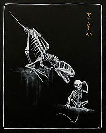 Delphyne V., art, artiste, artiste française, peinture, acrylique, paris, surréalisme, lowbrow, pop surréalisme, contemporain, moderne, galerie, os, squelette, bestiaire, sacré, alchimie, pagan, sorcière, crâne, biodiversité, préservation, funny bones, T-Rex, noir, blanc, doré