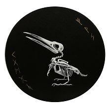 Delphyne V., art, artiste, artiste française, peinture, acrylique, paris, surréalisme, lowbrow, pop surréalisme, contemporain, moderne, galerie, os, squelette, bestiaire, sacré, alchimie, pagan, sorcière, crâne, biodiversité, préservation, funny bones, anatomie, planche anatomique, squelette oiseau, noir, blanc, dorée