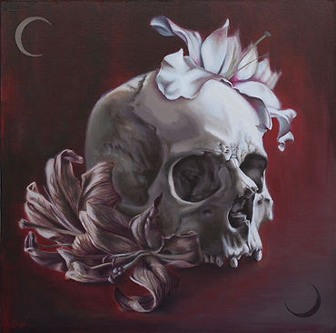 Delphyne V., art, artist, painting, oil painting, paris, surrealism, lowbrow, pop surrealism, contemporary, modern, gallery, vanity, skull, death, human skull, lilies, commission, original, available