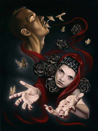 Delphyne V., art, artist, painting, oil painting, paris, surrealism, lowbrow, pop surrealism, contemporary, modern, gallery, psychology, portrait, death, reaper, woman, beautiful, roses, black roses, moths, hands, reaching, blood, commission, original, available