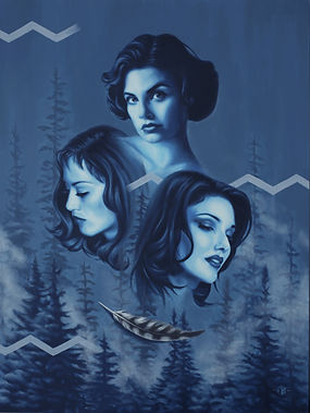 Delphyne V., art, artist, painting, oil painting, paris, surrealism, lowbrow, pop surrealism, contemporary, modern, gallery, fine art, original, available, david lynch, twin peaks, spoke art, feather, owl feather, mulholland drive, lost highway, audrey horne, camilla rhodes, renee madison, patricia arquette, sherilyn fenn, laura harring, new york, east side, art gallery, the spaces in between