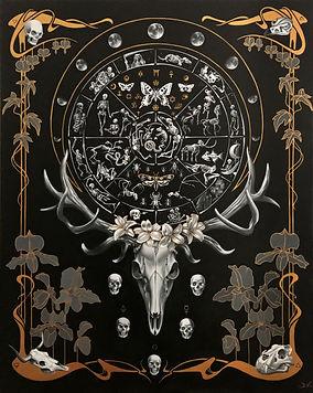 Samsara, art nouveau, wheel of life, delphyne v, skeleton art