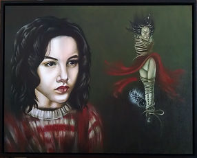 Delphyne V., art, artist, painting, oil painting, paris, surrealism, lowbrow, pop surrealism, contemporary, modern, gallery, fine art, original, available, jean pierre jeunet, miette, portrait, city of lost children, movie, lost