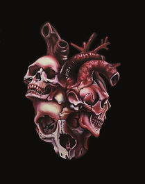Delphyne V., art, artist, painting, oil painting, paris, surrealism, lowbrow, pop surrealism, contemporary, modern, gallery, forever, heart, skull, human skull, skulls