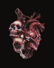 Delphyne V., art, artist, painting, oil painting, paris, surrealism, lowbrow, pop surrealism, contemporary, modern, gallery, forever, heart, skull, human skull, skulls
