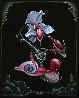 Delphyne V., art, artiste, peinture, peinture à l'huile, paris, surréalisme, lowbrow, pop surréalisme, contemporain, moderne, gallerie, fine art, original, environement, biodiversité, psychédélique, organique, fleurs, nature, orchidées, érotisme