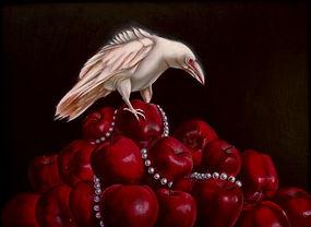 Delphyne V., art, artiste, peinture, peinture à l'huile, paris, surréalisme, lowbrow, pop surréalisme, contemporain, moderne, galerie, fine art, corbeau albinos, corbeau, corbeau, pommes, pommes rouges, perles, blanche neige, print, the threat
