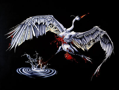 Delphyne V., art, artist, painting, acrylic painting, paris, surrealism, lowbrow, pop surrealism, contemporary, modern, gallery, fine art, original, available, organic, swan, bird, heart, broken heart, swan lake, ballet, swan's death