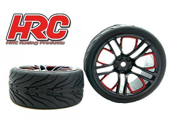 HRC GOMME 1/10 TOURING MONTATO CERCHI ROSSI/NERI HRC61016A