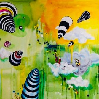 Garden 150x150cm, acrylics on canvas, so