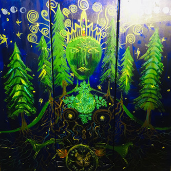 Queen of a forest 90x90cm. acrylics on c