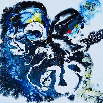 River 50x50cm. oil on canvas, already de