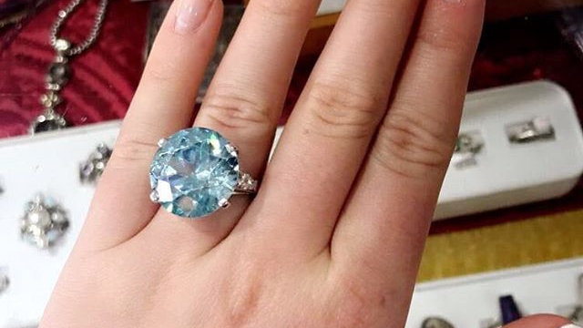 Antique Platinum, Diamond, & Blue Zircon Ring